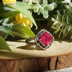 Ruby & Black Diamond Sterling Silver Ring